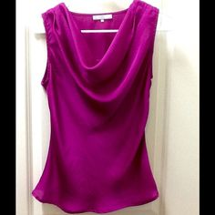Magenta Blouse Dress magenta blouse. Has draped neckline and flats some at the waist. Size petite small. 100% polyester. Great condition! Violet & Claire Tops Blouses