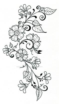 Items similar to tattoo design 8 on Etsy – hand embroidery Embroidery Flowers Pattern, Hand Embroidery Designs, Flower Patterns, Embroidery Stitches, Pattern Flower, Doodle Drawings, Doodle Art, Tattoo Drawings, Tattoo Art