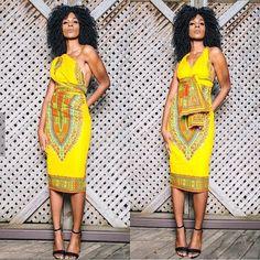 African Dashiki Yellow One-Shoulder Midi Dress African Dashiki, African Fashion Ankara, African Print Fashion, African Wear, Ethnic Fashion, African Dress, Fashion Prints, African Prints, African Outfits