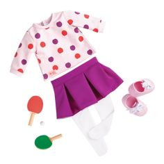 "NIB Our Generation PING PONG PRO 18/"" Doll American Girl TOP Skirt CLOTHES Tights"