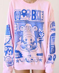 sweater pullover pink blue cute milkbbi sweatshirt kawaii pastel korean kfashion girl 98% mvp oversized pale girly japanese anime K-pop shirt creepy cute grunge asian coat kawaii fashion fashions style fur furry gorgeous cozy warm fabric tshirt pretty light