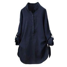 5377541c3cd Blouses   Shirts. Vintage TopsTunic TopsStand Collar ShirtT ShirtShirt  BlousesBlouses For WomenCollarsButtonsCasual Shirts. Blouse Women Plus Size  Fashion ...