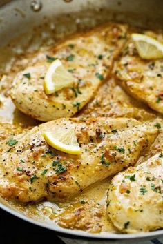 One Skillet Chicken topped with A Lemon garlic Cream Sauce