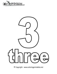 Number Three Coloring Page Printable.