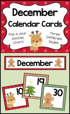 Number cards and header for your December calendar. Fits in your pocket chart.