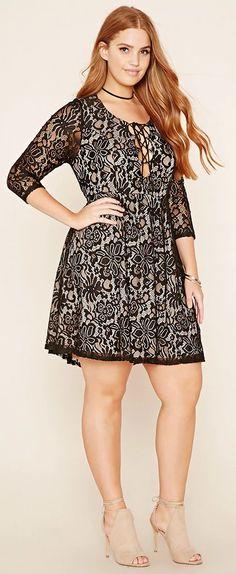 Plus Size Crochet Lace-Up Dress