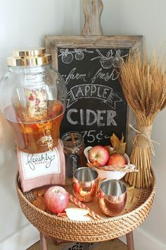 A beautiful collection of farmhouse fall tray ideas to help get you inspired for your fall decor. This fun apple cider tray is perfect for the season!