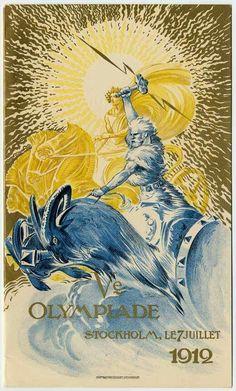 Poster for the 1912 Summer Olympics in Stockholm. Mythology Books, Norse Mythology, Greek Goddess Art, Norse Goddess, Odin And Thor, Norse Pagan, Viking Life, Asatru, Modern Art Deco