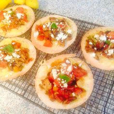Mini tortilla topped with Feta,peppers,garlic,mushroom,spring onion,sage and chilli