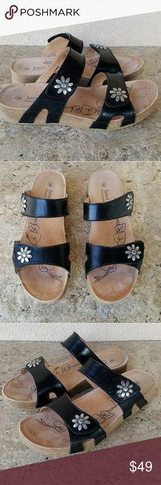 Josef Siebel Black Leather Sandals 38 Josef Seibel black leather Edelweiss sandals. Size 38 fits size 8 to 8.5. Excellent condition. Super comfortable. Josef Seibel Shoes Sandals