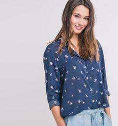 Camicia fantasia blu stampato - Promod