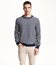 Texture-knit sweater in cotton with contrasting trim at neckline, cuffs, and hem.