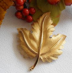 Fall Leaf Brooch Signed Trifari by normajeanscloset on Etsy, $18.99