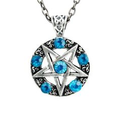 Dysfunctional Doll Inverted Pentagram Ritual Necklace with Turquoise Stones : Pendants & Necklaces