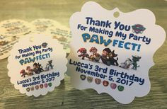 A personal favorite from my Etsy shop https://www.etsy.com/listing/485402099/paw-patrol-birthday-party-thank-you