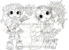 INSTANT DOWNLOAD Digital Digi Stamps Big Eye Big Head Dolls Digi  Valentine Sisters By Sherri Baldy