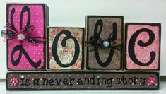 Love wood blocks by KimsKreationsSA on Etsy