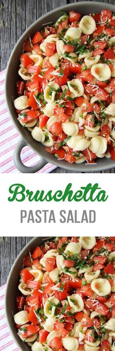 This Bruschetta Pasta Salad is a perfect summer side dish. Loaded with tomatoes, basil, parmesan cheese and noodles this salad is a must make dish!