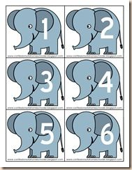 elephant counting - punch a hole in the end of the trunk and attach math links!