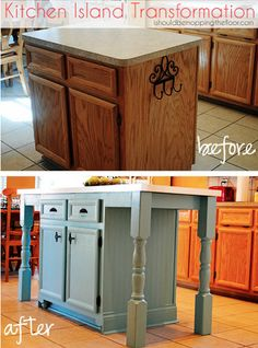 This is my post about our easy DIY kitchen island makeover. It's made a huge difference in how we use our kitchen! We added a new countertop, legs, beadboard wa… Kitchen Island Makeover, Diy Kitchen Island, Kitchen Redo, New Kitchen, Kitchen Makeovers, Design Kitchen, Kitchen Ideas, Kitchen Cabinets, Kitchen Island Using Stock Cabinets