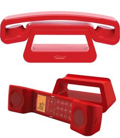 Minimal Cordless Phone. Available in RED or BLACK.        Unique neo-retro design      Standby-time - Up to 100h      Talk Time - Up to 10h      Handsfree speakerphone      Clock time display
