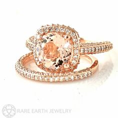 Hey, I found this really awesome Etsy listing at https://www.etsy.com/listing/123541092/18k-rose-gold-morganite-wedding-set