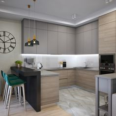 Awesome 40 Elegant Two Tone Kitchen Cabinet .least maple cherry or simple blon. Industrial Kitchen Design, Kitchen Room Design, Kitchen Cabinet Design, Modern Kitchen Design, Home Decor Kitchen, Interior Design Kitchen, Kitchen Furniture, Contemporary Kitchen Cabinets, Modern Design