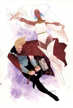 Thor and Storm by Kevin Wada. Tim and I should totally do this for Halloween or Comic-Con!