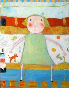 """""""It Wasn't Me"""", Acrylic on canvas ,28x22 $1500.00 © Barbara Olsen www.anneirwinfineart.com"""