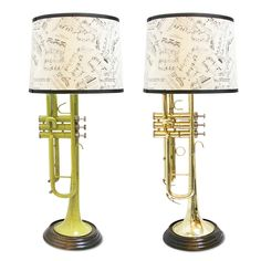 Need these as bedside lamps!  Someday...   ; )    From Uncommon Goods: INSTRUMENTAL LIGHTING - TRUMPETS | Instrument, Lamp, Upcycling, Upcycle, Recycle, Handmade, New York City, Jaime Cornett, Trumpet, Brass, Gift for the Musician | UncommonGoods