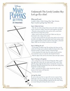 Your child will love these free printable Mary Poppins Returns Coloring Pages and Activities. Grab this Mary Poppins Returns activity pack for free! Disney Printables, Free Printables, Mary Poppins Musical, Brownies, Kites Craft, Kite Making, New Disney Movies, Color Activities, Disney Activities