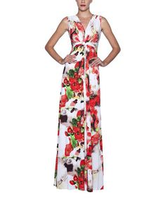 Look at this #zulilyfind! Red & White Floral Ruched Empire-Waist Maxi Dress by Elfe #zulilyfinds