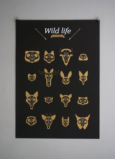 Wild Life poster from design studio www.byebyebambi.com - gold and white on black Plike paper, screenprinted by La Bourgeoise Sérigraphe