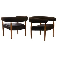 Oak and Leather Ring Chairs by Nanna Ditzel ca.1958