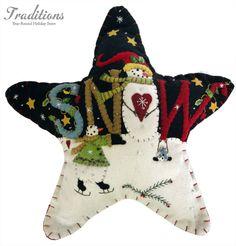 "handmade holiday star ""snow"" pillows"