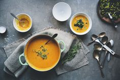 Sweet potato & red lentil soup with aubergine & kale topping - Green Kitchen Stories Whole Foods, Whole Food Recipes, Soup Recipes, Vegetarian Recipes, Cooking Recipes, Healthy Recipes, Carrot And Lentil Soup, Carrot Potato Soup, Sweet Potato Soup