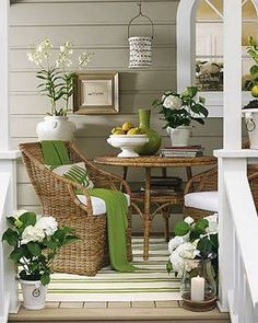 Love this porch! The color just pops! via Oh So Shabby By Debbie Reynolds/Facebook