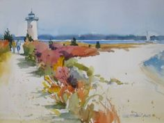 lighthouse and beach watercolor by Mel Stabin