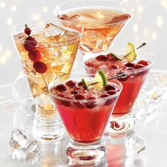 Glasses of cranberry lime rum spritzer, garnished with cranberries Fun Drinks, Yummy Drinks, Beverages, Liquid Lunch, Punch Recipes, Cocktail Recipes, Cocktails, Holiday Recipes, Holiday Meals