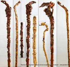 """Bâtons """"Racines Transfigurées"""" sculptés par Pierre Damiean: la racine devient le pommeau du bâton et le tronc de l' arbuste (principalement du buis) devient le fût..."""