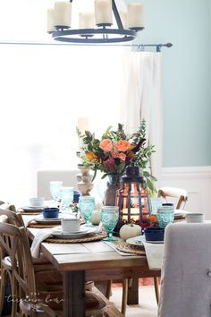 Lantern, Candles and a Farmgirl Flowers Fall Tablescape