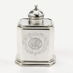 A George I silver tea caddy. Britannia Standard marks of John Farnell, London 1717. Later engraved monogram.  Notes: VAT: margin scheme  Dimensions: Height 13 cm, weight 215 gr // SOLD - November 2013  //  - Maria Elena Garcia -  ► www.pinterest.com/megardel/ ◀︎