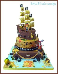 The most time consuming cake we have ever done! This cake was for my son who is pirate mad 3rd birthday! It was a real challenge as it had a few purposes! 1 – It had to feature Jake and Captain Hook (his favorite characters) 2 – It had to be taken...