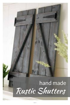Gorgeous hand made rustic farmhouse wood shutters! found them on Etsy, her whole shop is amazing! #rusticdecor #countrydecor #farmhousedecor #rusticfarmhouse #ad #bbmaff #fixerupper #modernfarmhouse #woodshutters #shutters #modernfarmhousedecor #rusticcountryfarmhouse #FarmhouseInteriorDesignideas #RusticCountryFarmhouseDecorIdeas #loveit