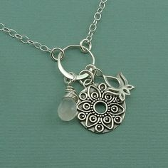 Mandala Charm Necklace  sterling silver pendant by TheZenMuse, $48.00