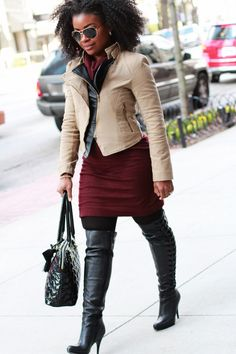 The Serena Saga Sweater Dress Over The Knee Boots Leather trim Motorcycle jacket 7