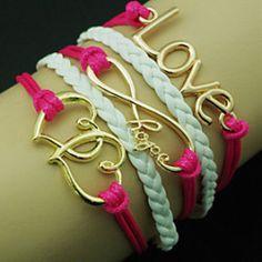 European Heart 18cm Women's Rose Leather Wrap Bracelet (Random Color)