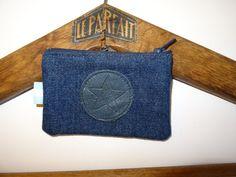 Porte monnaie jean motif rond étoile cuir, personnalisable, SUR COMMANDE : Porte-monnaie, portefeuilles par la-renaissance-des-matieres