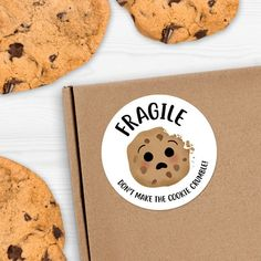 Fragile Cookie Stickers - x Circles 24 Per Sheet OR Circles 6 Per Sheet - Cookie Cru Bake Sale Packaging, Brownie Packaging, Cupcake Packaging, Baking Packaging, Dessert Packaging, Chocolate Packaging, Food Packaging Design, Cookies Branding, Logo Cookies