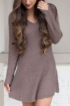 Lay Your Love Down Mocha Sweater Dress